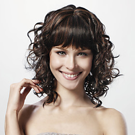 Capless Medium Curly Black 100% Human Hair Wig Full Bang