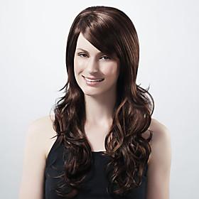 Capless Extra Long Synthetic Dark Coffee European Weave Hair Wig