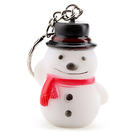 Christmas Smiling Snowman Keychain with Light Effect