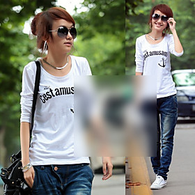 Women's Letter Print Slim Round Collar T-shirt