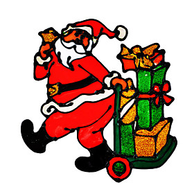 Christmas  PVC Showcase Sticker Of Santa Claus With Many Gifts