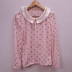 Women's Polka Dots Lace Lovely Large Size Blouse Shirt