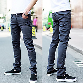 Skinny Solid Color Cotton Pants