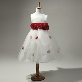 Satin And Tulle Sleeveless Flower Girl Dress
