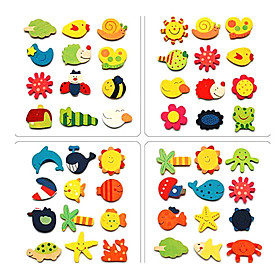 Mini Wooden Cartoon Magnet Early Childhood Toys (12-Pack, Random Pattern)
