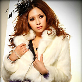 Gorgeous Shawl Collar Long Sleeve Faux Fur Party/Office Jacket