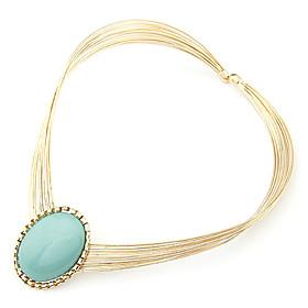 Rose Gold Color Plated Blue Gem Alloy Necklace
