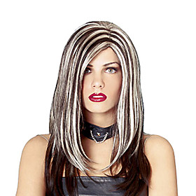 Black and White Mixed Color Rock Royalty Halloween Wig