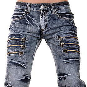 Men's Zippers Straight Jeans
