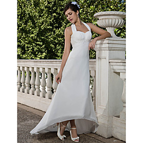 Sheath/ Column Empire Halter Asymmetrical Chiffon Wedding Dress with Beaded Appliques
