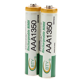 BTY AAA 1350mAh Rechargeable Ni-MH Batteries (1.2V, 2-Pack)