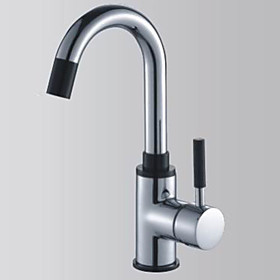 Contemporary Solid Brass Single Handle Kitchen Faucet-Chrome Finish