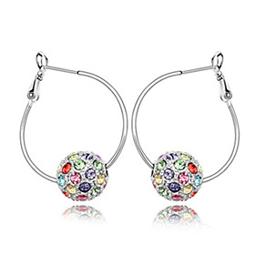 Lovely Platinum Plated Crystal Hoop Earrings(More Colors)