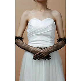 Fashion Lace Fishnet Fingertips Elbow Length Evening/Party Gloves