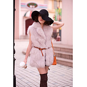 Shawl Collar Sleeveless Faux Fur Party/Office Vest