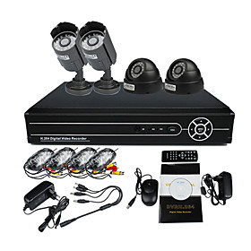 2 Outdoor And 2 Indoor Day Night CCTV Home Video Surveillance Security Camera Kit(4Ch D1,IR 10m)