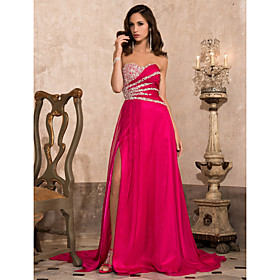 A-line Sweetheart Sweep/ Brush Train Chiffon Evening Dress