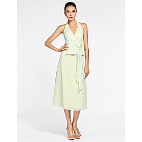 A-line Halter Tea-length Chiffon Bridesmaid Dress