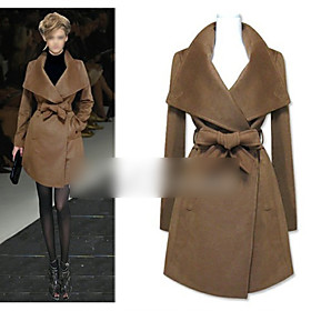 Lady Fashion Lapel Collar Long Coat