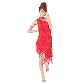 Dancewear One Shoulder Polyester with Tassels Performance Latin Dance Dress For Ladies More Colors