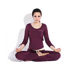 Yoga Casual Workout Clothes Suits in 2sets(Long sleeve Yoga T-Shirt Yoga Pants)