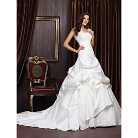 Ball Gown Sweetheart Chapel Train Satin Lace Wedding Dress With Wrap