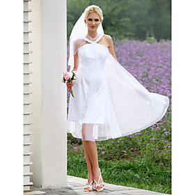 A-line Scoop Knee-length Tulle Wedding Dress