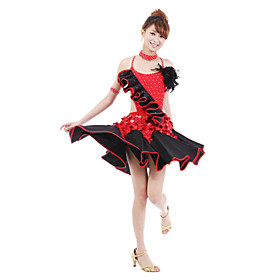 Performance Dancewear Polyester with Sequins Latin Dance Dress For Ladies More Colors