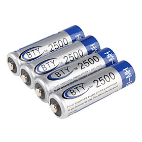 BTY Ni-MH AA Rechargeable Battery (1.2v, 2500 mAh)