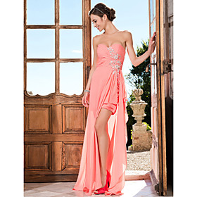 Sheath/Column Sweetheart Asymmetrical Chiffon Evening Dress