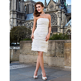 Sheath/ Column Strapless Knee-length Organza And Lace Wedding Dress
