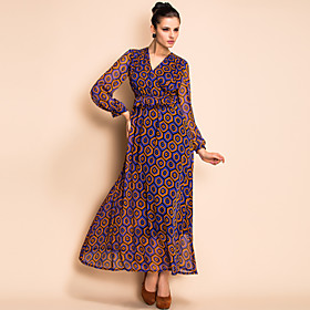 TS Colorful Geometric Pattern Long Sleeve Maxi Dress