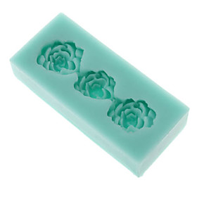 DIY Baking 3D Three Flowers Shaped Silicone Square Cake Soap Mold
