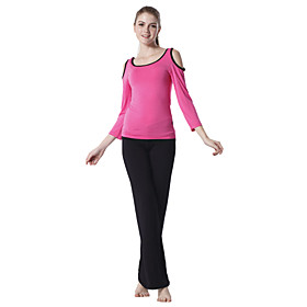 Japannes Cotton Long Sleeve Off-shoulder Sports Yoga Suit (Red Tops Black Pants)