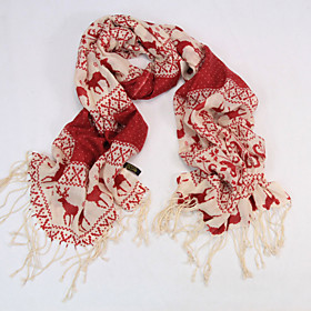 JAFENMY-Women's Deer Snowflake Long Wool Scarf(Two Colors)