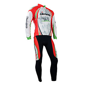 Santic Fashion Designed Winter-Style 100% Polyester and Fleece Cycling Suits (California Red)