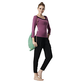 Environmental Protection Cotton Long Sleeve Simple Sports Yoga Suit (Red Tops Black Pants)