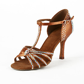 Women's Satin / Rhinestone Upper T-Strap Latin / Salsa Dance Shoes