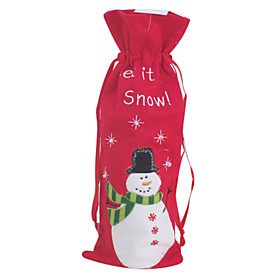 Cute Snowman Red Cotton Christmas Wine Bag