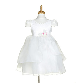 Sweet Short Sleeve Organza   Lace Wedding/Evening Flower Girl Dress With Flowers