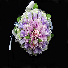 Elegant Satin/Cotton Round Shape Wedding Bouquet/Bridal Bouquet
