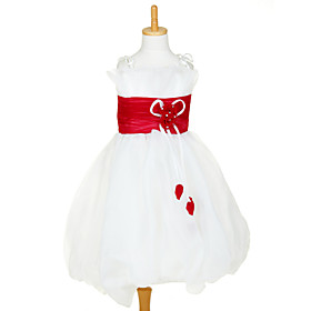 Sweet Sleeveless Organza   Satin Wedding/Evening Flower Girl Dress
