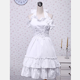 Sleeveless Knee-length White Cotton Halter Ruffles Sweet School Lolita Dress