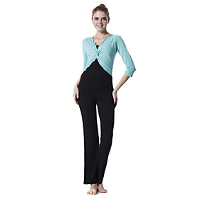 Environmental Protection Cotton Long Sleeve Tiered Pleated Sports Yoga Suit (Blue and Black Tops Black Pants)
