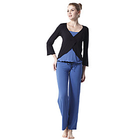 Environmental Protection Cotton Long Sleeve Tiered Sports Yoga Suit (Blue and Black Tops Blue Pants)