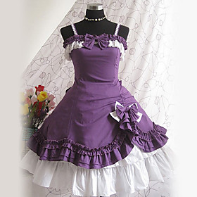 Sleeveless Knee-length Purple Cotton Aristocrat Lolita Dress