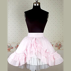 Knee Length Pink Cotton Sweet Lolita Skirt with Lacework