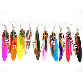 Europe, foreign trade jewelry, fashion beads feather earrings, feather earrings wholesale E075