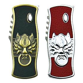 Lion Pattern Lighter with Folding Knife(Random Color)