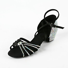 Women's Rhinestone / Satin Upper Ankle Strap Latin / Salsa Dance Performance Shoes With Buckle